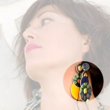 Earrings model Universo Alhambra, Night, for long necklace